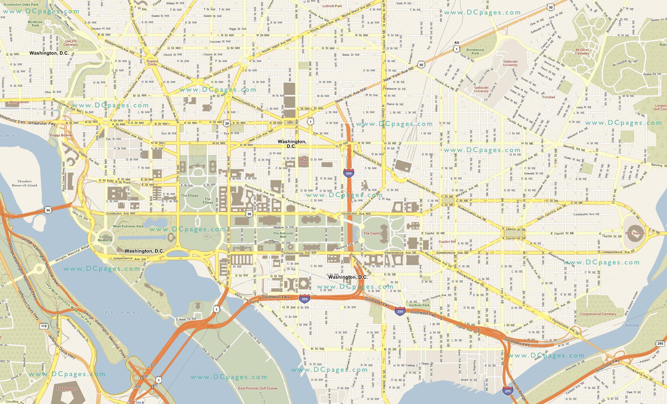 Detaljeret Kort Over Washington Dc Detaljeret Kort Over